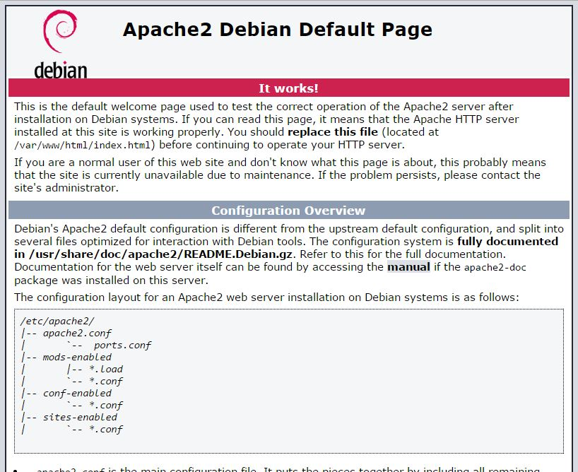 Home Page Debian Web Server